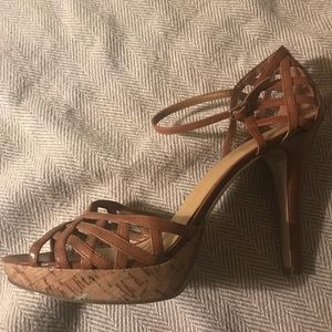 "Nine West Shoes - 4"" tan Nine West strappy sandals"